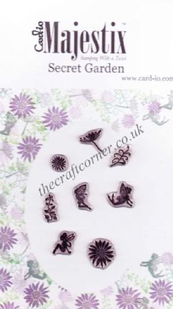 Secret Garden 8 Flower & Fairy Clear Rubber Stamps by Card-io